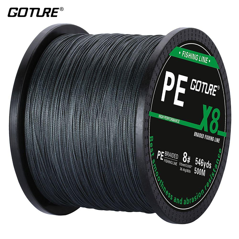 Goture 500 m/546Yds PE Tressé Ligne De Pêche Corde Fil Multifilament 8 Brin Tisse Super Strong Japon Ligne Carpe de pêche