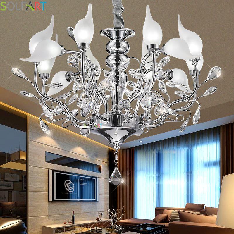 Chandeliers Lighting Iron Lamps For Dining Room Lustre Moderne Bedroom Lighting Crystal Chandelier Ceiling