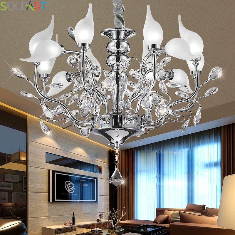 Chandeliers Lighting Iron Lamps For Dining Room Lustre Moderne Bedroom Lighting Crystal Chandelier Ceiling