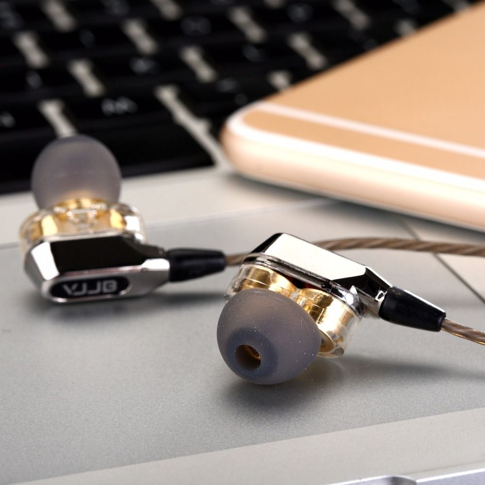 Nouveau Original VJJB V1 V1S hifi écouteurs intra-auriculaires Super basse écouteurs haute qualité Double cercle Subwoofer moniteur casque avec micro