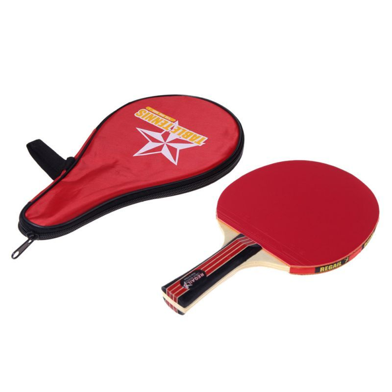 Cubierta Gimnasio Deportes Shake mano Tabla Raqueta de Tenis Ping Pong Paddle + Bolsa Impermeable del bolso Rojo Murciélagos de Tenis de Mesa