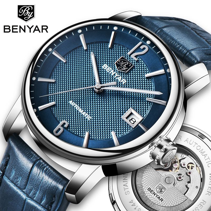 BENYAR 2018 New Fashion Top Luxury Brand Leather Watch Automatic Men Wristwatch Men Mechanical Steel Watches Relogio Masculino