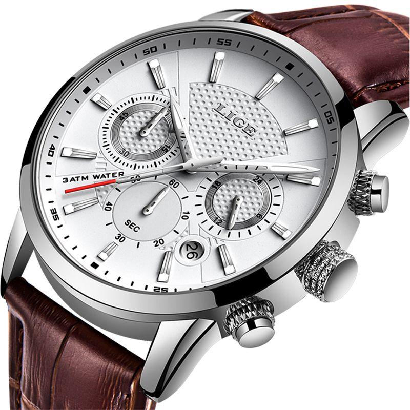 LIGE 2019 New Watch Men Fashion Sport Quartz Clock Mens Watches Brand Luxury Leather Business Waterproof Watch Relogio Masculino