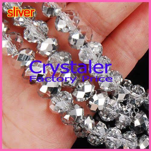 5040 AAA Top demi clair couleur argent lâche cristal verre Rondelle perles2mm 3mm 4mm, 6mm, 8mm 10mm, 12mm livraison gratuite!