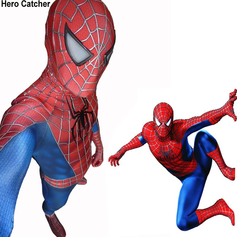 Hero Catcher Hochwertige 3D Bahnen Spiderman Kostüm Raimi Spiderman-anzug Film Spiderman Spandex Body Kostüm Für Party