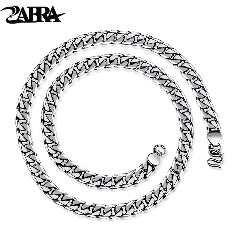ZABRA 925 Sterling Silver 7.5mm 55cm Horsewhip Chains For Men Necklace Vintage Thai Silver Steampunk Retro Personality Necklaces