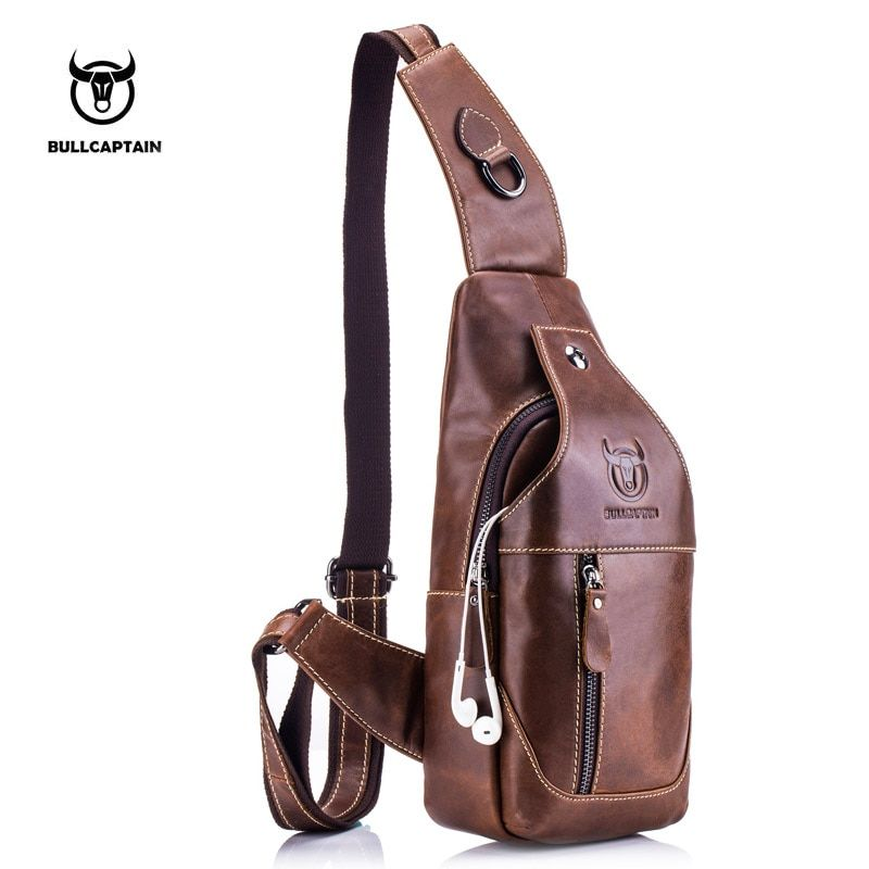 BULLCAPTAIN Fashion Genuine Leather Crossbody Bags men casual messenger bag <font><b>Small</b></font> Brand Designer Male Shoulder Bag Chest Pack
