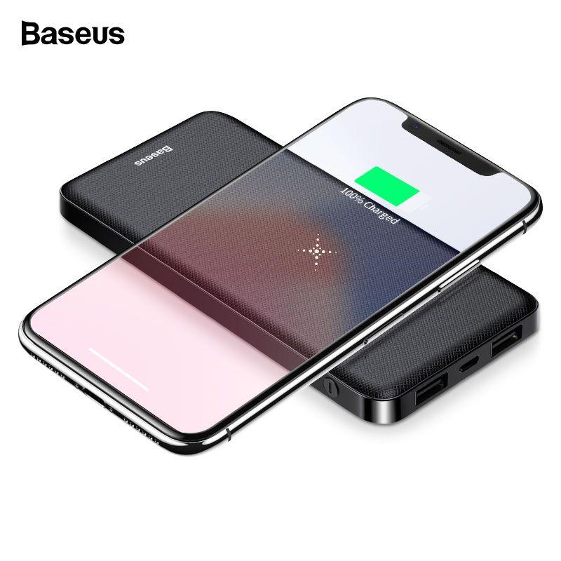 Chargeur sans fil Portable Qi Baseus batterie externe 10000 mAh batterie externe chargeur sans fil rapide pour Xiao mi 9 iPhone batterie externe téléphone