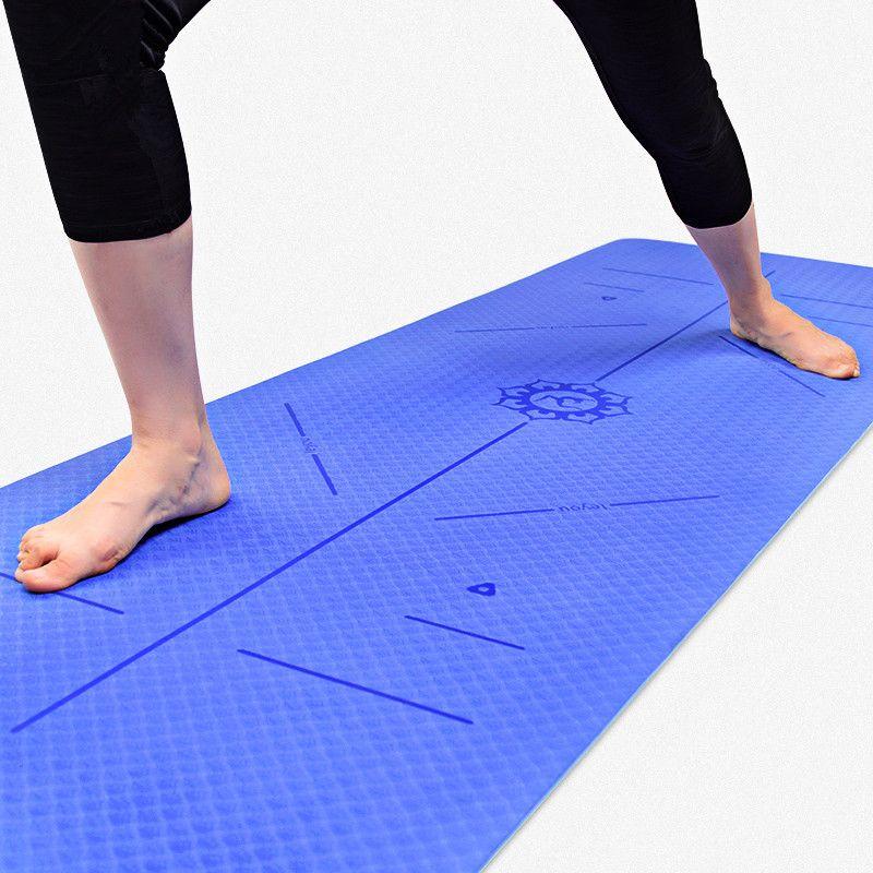TPE Yoga Mat 6MM Non-slip Eco-friendly Pad For Sports Balance Guide Position Line Pilates Mat Fitness Gymnastics Dance Yoga Mats