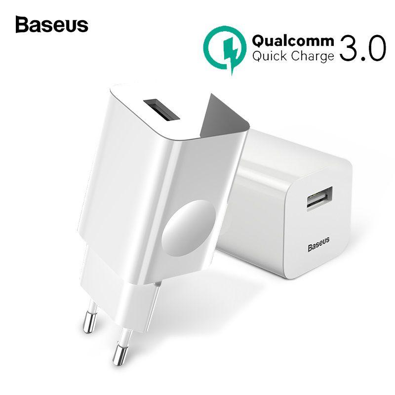 Baseus 24 w Charge Rapide 3.0 USB Chargeur Pour Samsung Xiaomi Huawei Charge Rapide QC 3.0 Voyage Mobile Téléphone Chargeur US Plug UE