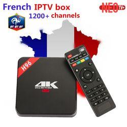 Français IPTV Boîte H96 4 K Android TV Box avec 1000 + NEOTV IPTV Europe Français Arabe Espagne Tunisie Maroc PayTV Smart Set top boîte