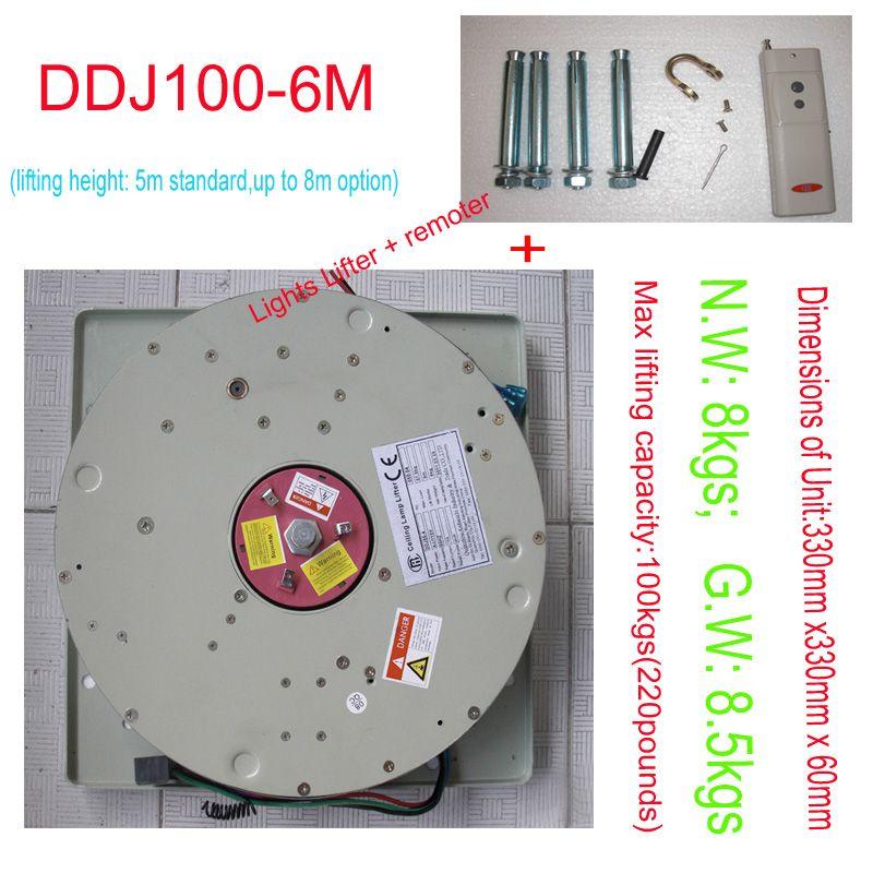 DDJ100KG 6M Chandelier Hoist Light Lifting System Lamp Winch Lighting Lifter Chandelier Lift 110V-120V,220V-240V,free Shipping