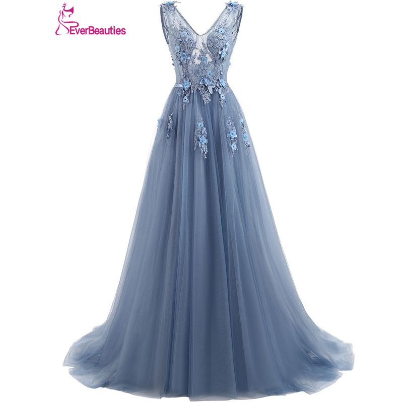 Elie Saab Blue Evening Dresses 2018 Plus Size Tulle Appliques Long Formal Dresses Gowns V Neck Lace Up Sleeveless Robe De Soiree
