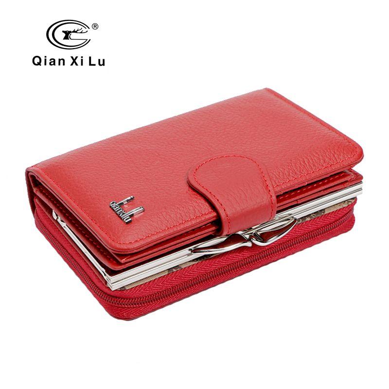 Qianxilu 2017 nouvelle marque femmes portefeuilles en cuir de vachette fermeture éclair et moraillon porte-monnaie femme portefeuille de haute qualité cadeau