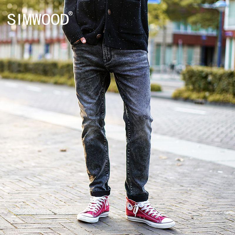 SIMWOOD 2018 Printemps Nouveau Rayé Jeans Hommes Classique Casual Jeans Denim Pantalon Homme Slim Fit Plus Taille Marque Vêtements NC017016