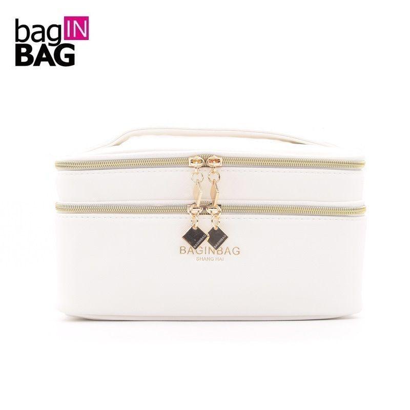 Baginbag Double Couche Cosmétique Sac Multifonctionnel Blanc Beauté Sacs; Ceinture Poche Maquillage Sac de Toilette Sac 20*12*12 cm; 5 Couleurs