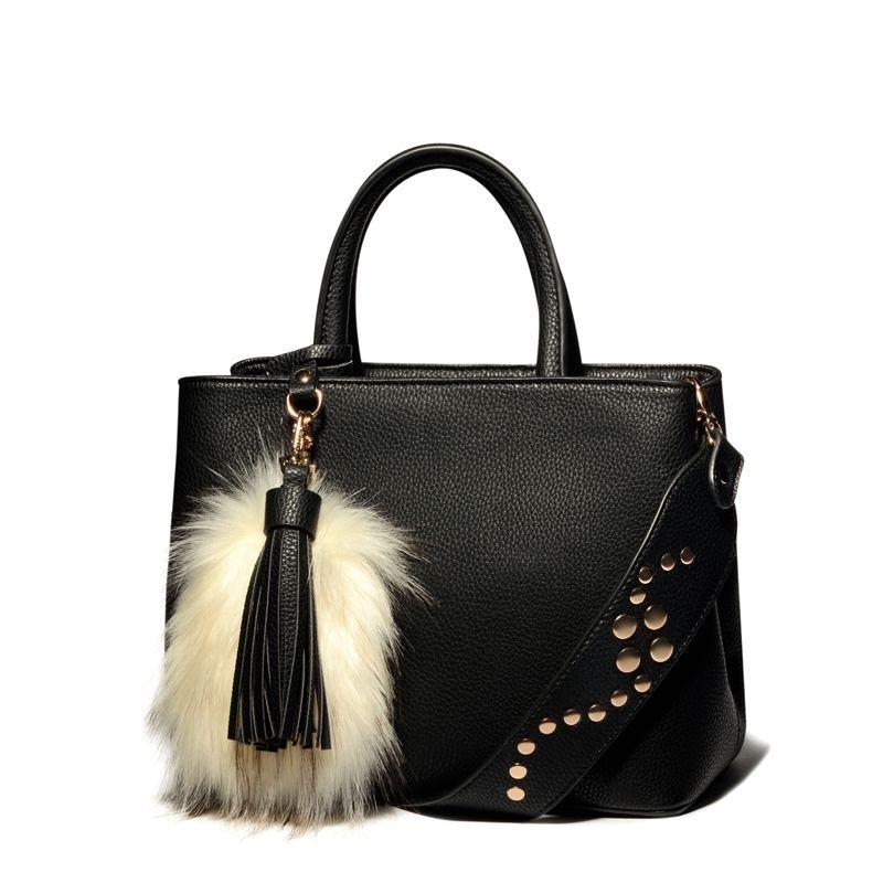 AMELIE GALANTI Women's Handbag Solid Hard PU Leather Women Crossbody Bags with Rivet Tassel Fashion Women Casual Tote Bags