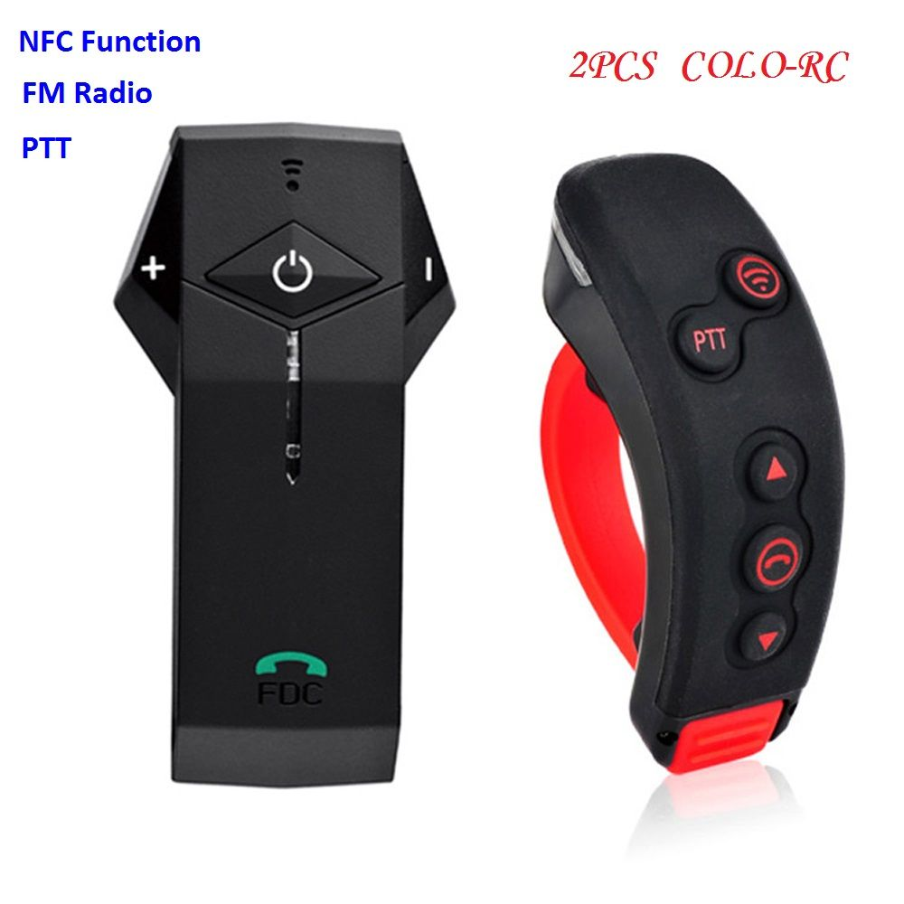 2PCS COLO-RC+L3 Handlebar Remote Controller Motorcycle Bluetooth Helmet Wireless Intercom Headset for 2 Riders with NFC FM Radio