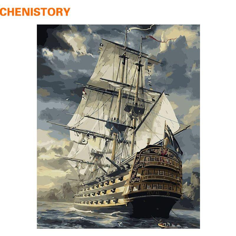 CHENISTORY bateau à voile peinture à la main par numéros dessin peinture par numéros Kits peinture sur toile pour maison mur Art photo 40x50