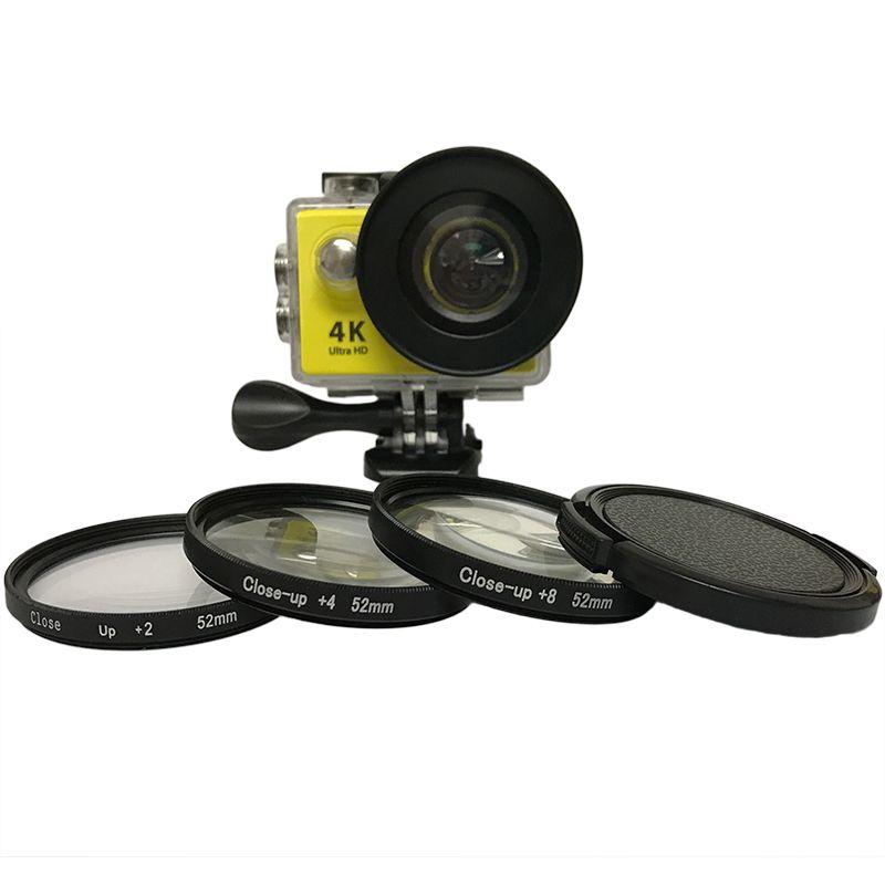 3 pcs/lot 52mm Macro Close Up lentille filtrante Kit + 2/4/8 pour Eken Accessoires Eken H9 h9R h9pro H9SE H8PRO H8SE H8 H8R H3 H3R V8S