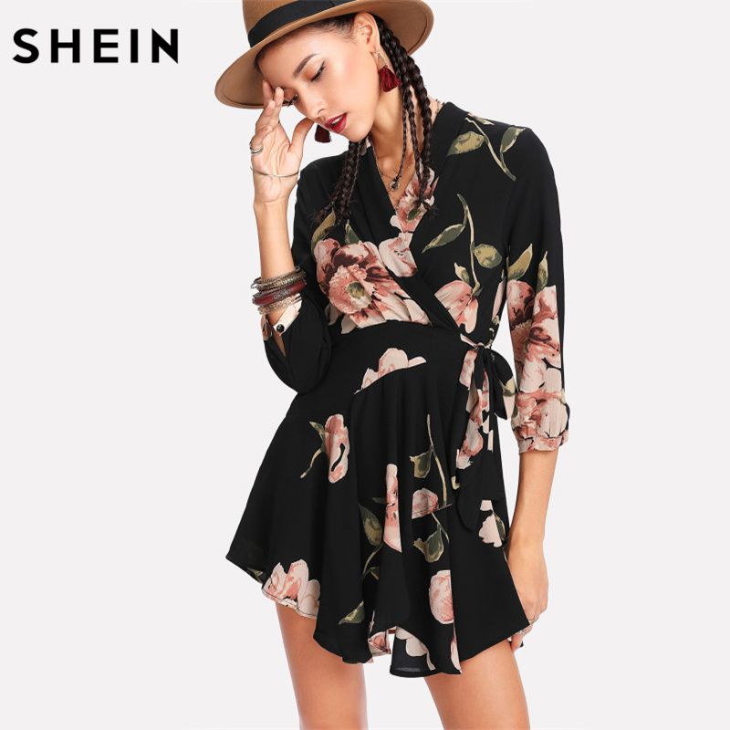 SHEIN Women Casual Dress Multicolor V Neck High Waist A Line Dress Three Quarter Length Sleeve Random Florals Wrap Dress