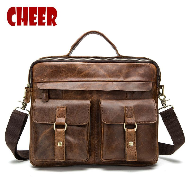 Genuine leather Business Briefcases handbags male shoulder bags high quality Natural Crazy Horse skin men handbag Laptop bag