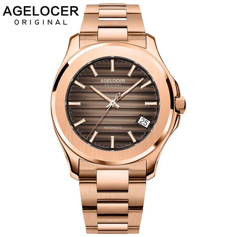 AGELOCER 2019 Neue Sammlung Selbst-wind Mechanische Männer Uhren Power Reserve 80 Stunden Luxus Automatische Uhr Gold 316L Stahl