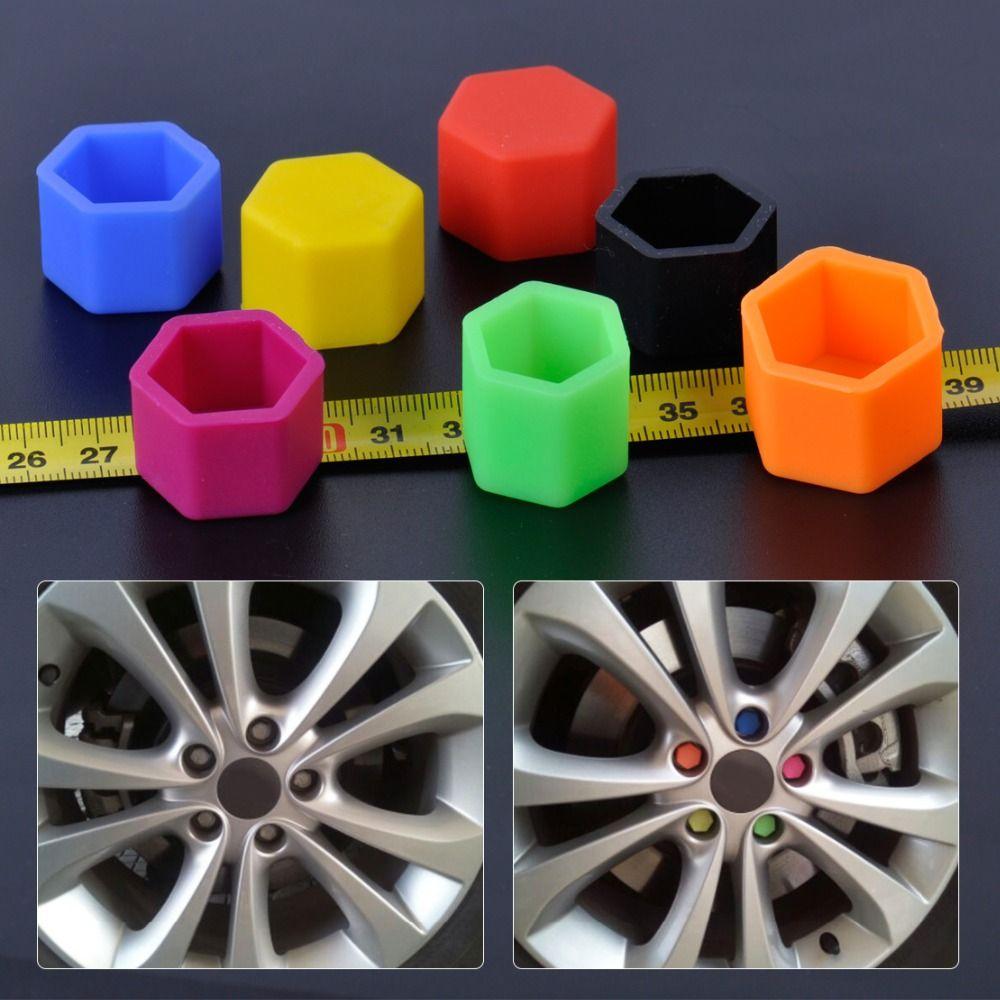 CITALL 20pcs New Universal 19mm Silicone Hexagon Car Wheel Lug Nut Bolt Cover Protective Tyre Valve Screw Cap Antirust Wheel Nut