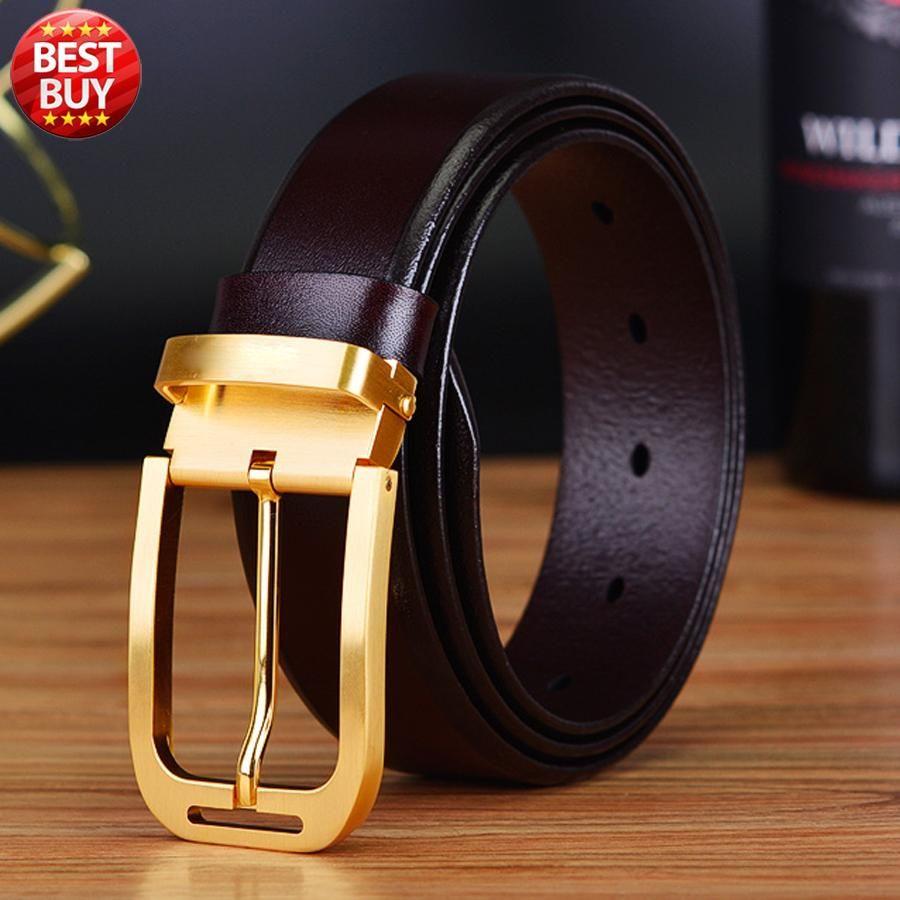 2017 neue design hochwertigen echtleder luxus marke gürtel für männer hosen kuh haut erste schicht messing schnalle freies verschiffen