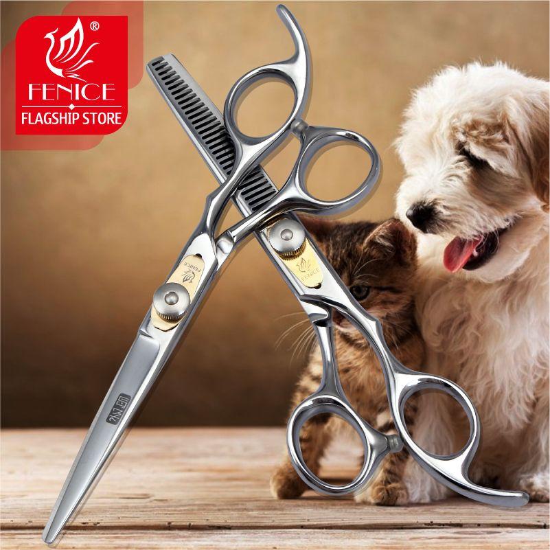 Fenice Professional japon 440c 6.0 pouces pet chien toilettage ciseaux set coupe + éclaircissement cisailles taux d'amincissement environ 25%-30%