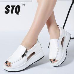 STQ 2018 Summer women sandals wedges sandals ladies open toe round toe zipper black silver white platform sandals shoes 8332