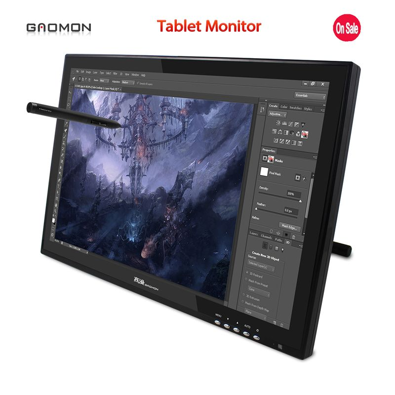 Hot Sale New GAOMON G190 19 Inches Pen Display LCD Monitor Touch Screen Monitors Graphic Drawing Digital Tablet Monitors Black