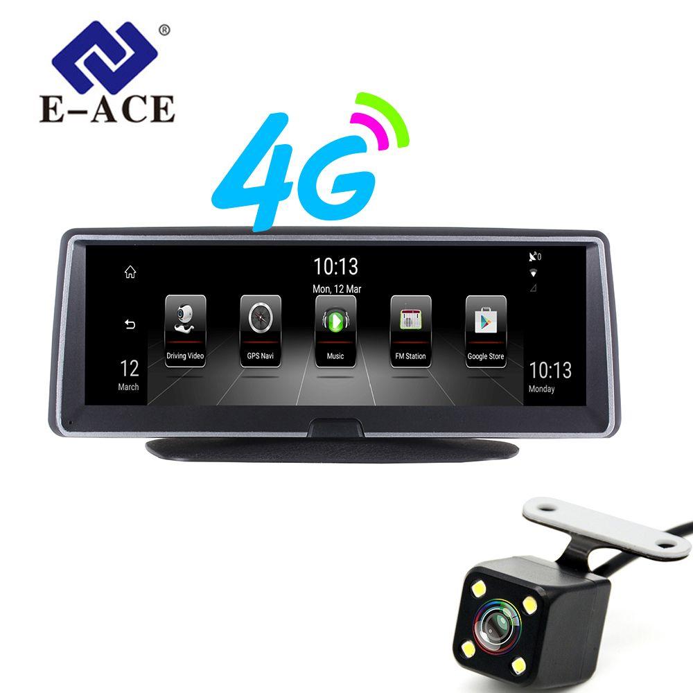 E-ACE E04 8 Zoll 4G Android Dual Objektiv Auto DVR GPS Navigator ADAS Volle HD 1080P Dash Cam auto Video Kanzler Navigation Recorder