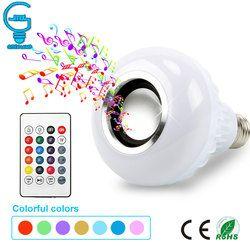 Inteligente E27 RGB 12 W Reprodução de Música Bluetooth Speaker Lâmpada LED Pode Ser Escurecido Conduziu a Lâmpada Sem Fio com 24 Chaves Remoto controle