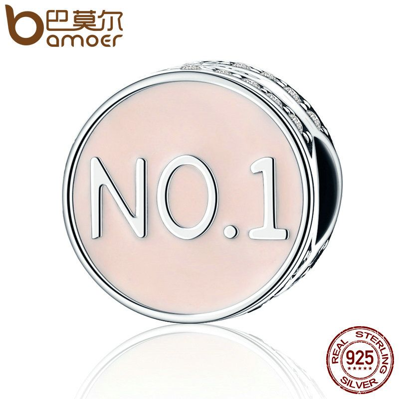 BAMOER Authentic 925 Sterling Silver NO.1 Number ONE Best of You Pave Confidence Beads fit Charm Bracelet Jewelry Gift SCC160