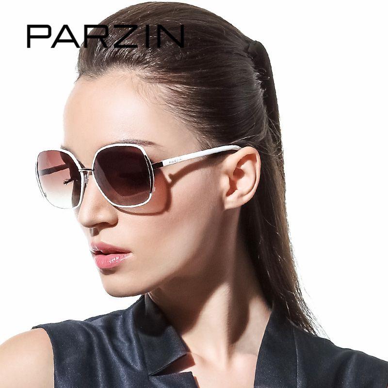 PARZIN Brand Polarized Sunglasses Women Big Cat Eye Metal Frame Grace Elegance Fashion High Quality Driving Glasses 9627