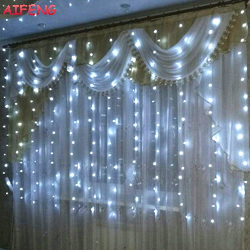 AIFENG Led Curtain <font><b>String</b></font> 3Mx1.5M 3Mx2M 3Mx3M Garland 144Led 192Led 300Led Led <font><b>String</b></font> For Christmas Wedding Party Holiday Lights