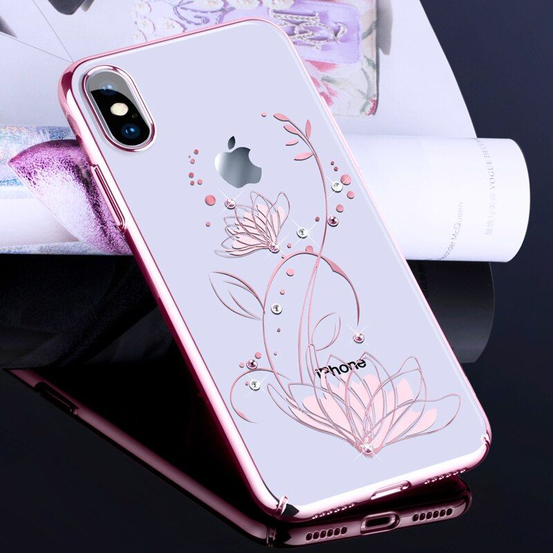 DEVIA for iPhone X Case Capa Crystals from Swarovski Flower Floral Diamond Plated PC Hard Case for iPhone X Cover Phone Coque