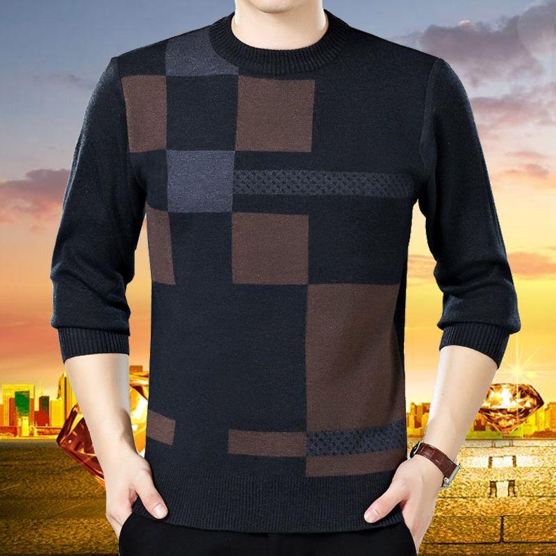 Бесплатная доставка! Зимние среднего возраста мужской круглый воротник шерстяной свитер больше среднего возраста и старых свитер свободны...