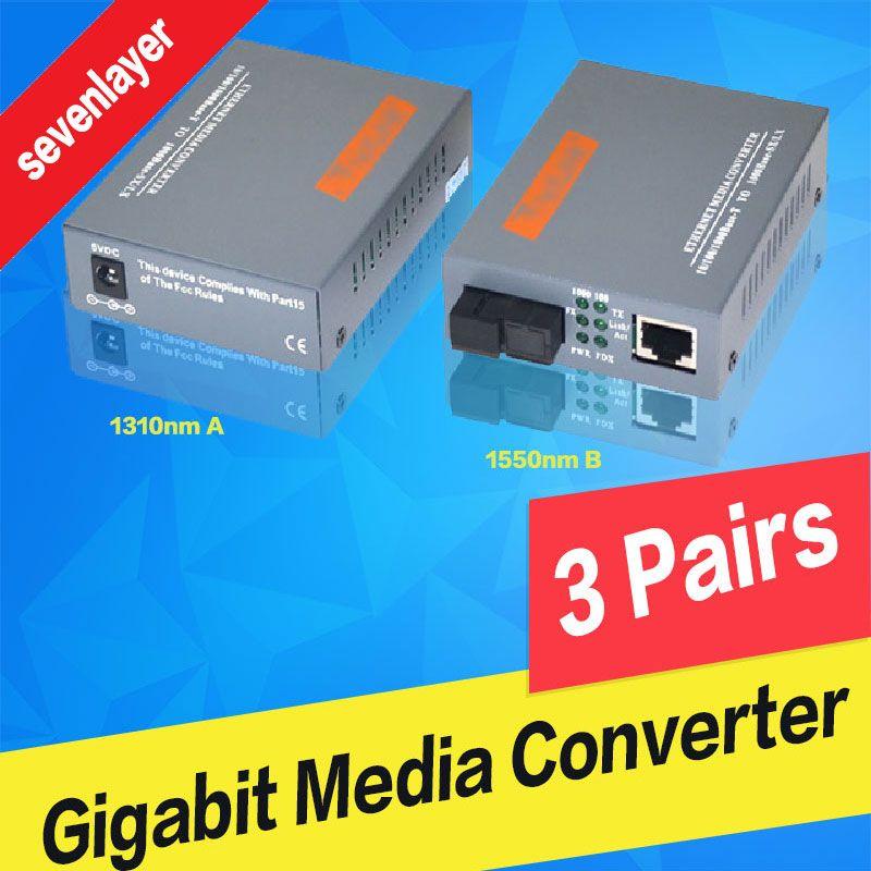 Gigabit Fiber Optical Media Converter HTB-GS-03 A&B 1000Mbps Single Mode Single Fiber SC Port 20KM External Power Supply 3 Pair