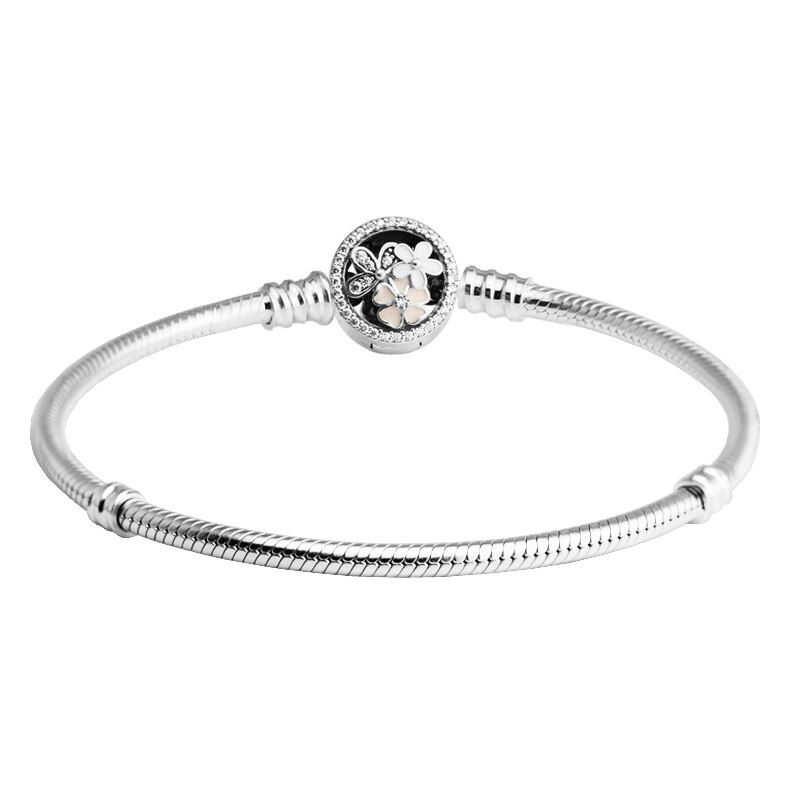 Poetic Blooms Silver Bracelets with Mixed Enamels & Clear CZ 100% 925 Sterling-Silver-Jewelry For Women Free Shipping 13B035