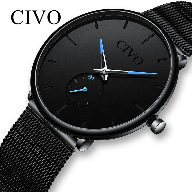 CIVO montre de mode hommes étanche mince maille sangle minimaliste montres-bracelets pour hommes Quartz montre de sport horloge Relogio Masculino