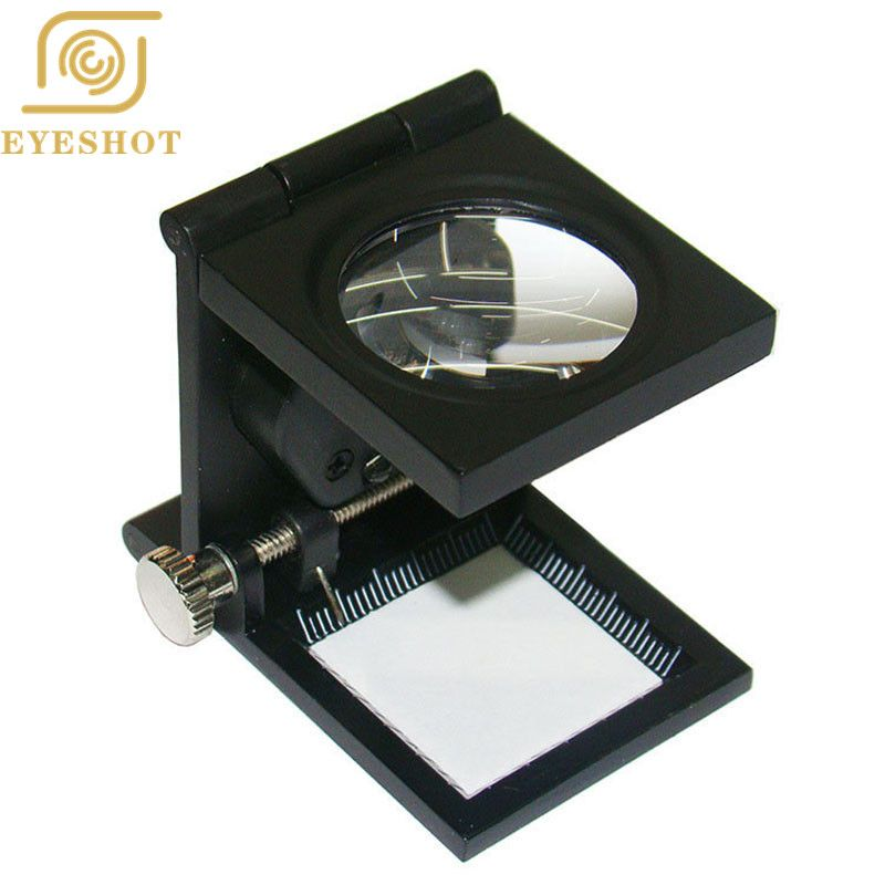 EYESHOT Foldable Scale Magnifier LED Illumination Light Printing fabric 12x Magnification Lupa Optical Lenses Magnifying Glass