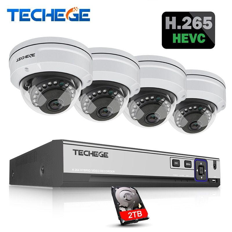 Techege H.265 4CH CCTV System 5MP 3MP 2MP POE IP Camera Waterproof Vandalprpof Motion Detect Email Alert Surveillance Camera Kit