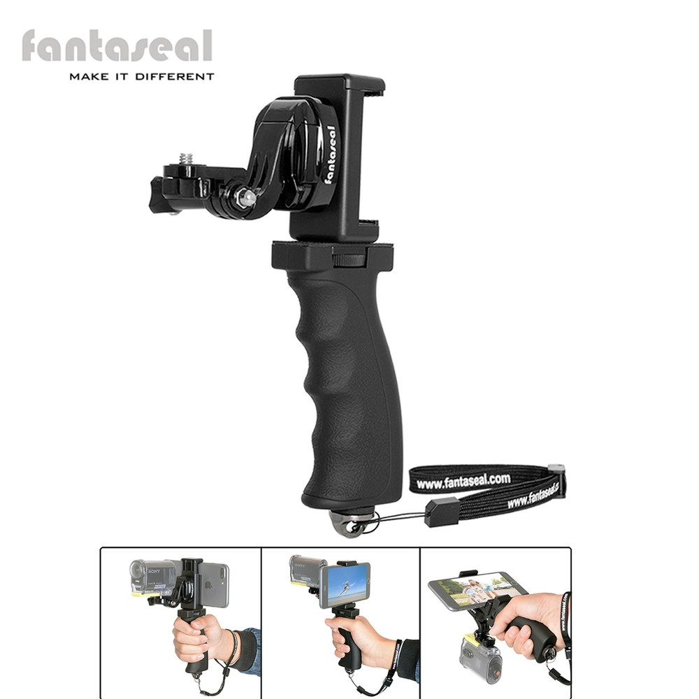 Fantaseal Action Camera Hand <font><b>Grip</b></font> Mount + cell phone Clip for Sony AS200V AS300R FD-X3000R KeyMission Gear 360 Stabilizer Holder