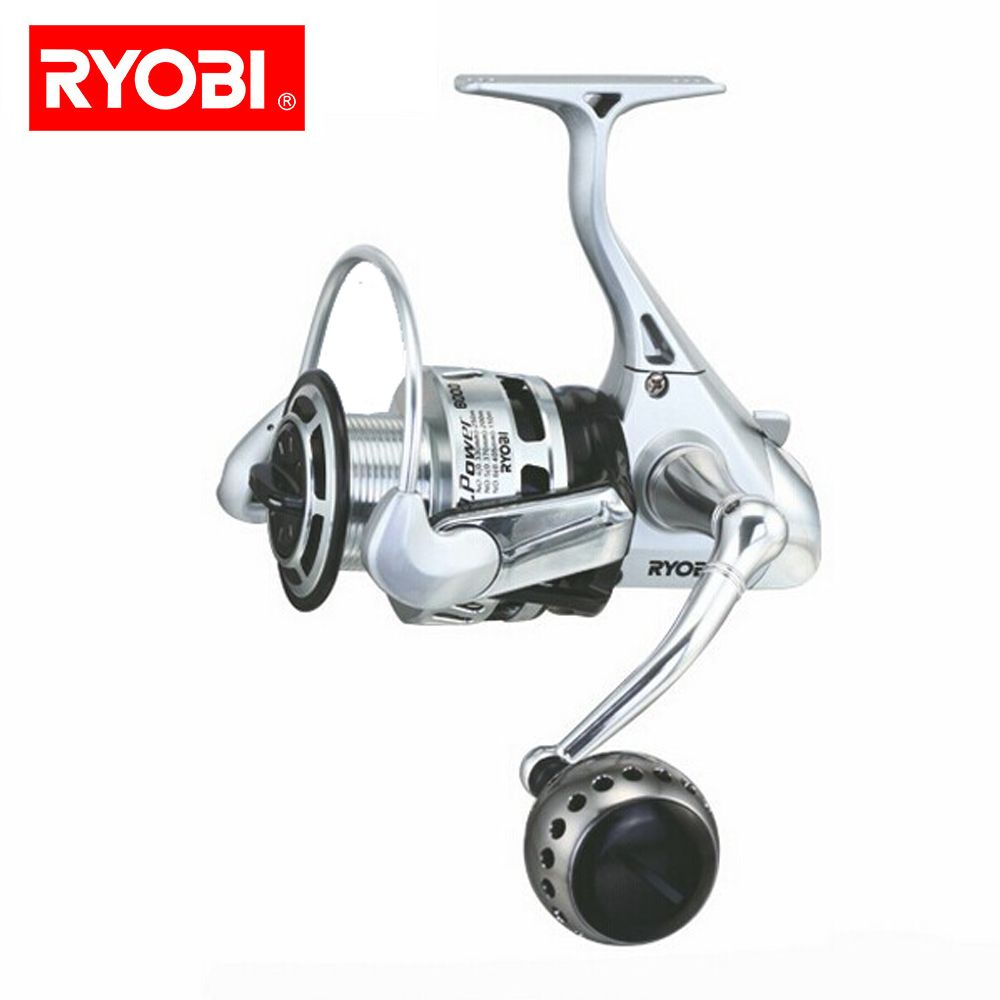 RYOBI 100% Original angeln reel TT POWER 5,0: 1 spinning reel 6 + 1 lager 10 KG Power spinndüse Japan rollen mit CNC griff