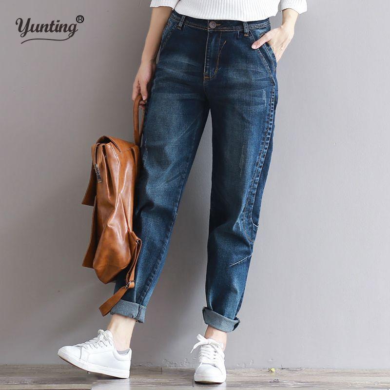 2017 Boyfriend Jeans Harem Pants Women Trousers Casual Plus Size Loose Fit Vintage Denim Pants High Waist Jeans Women Vaqueros