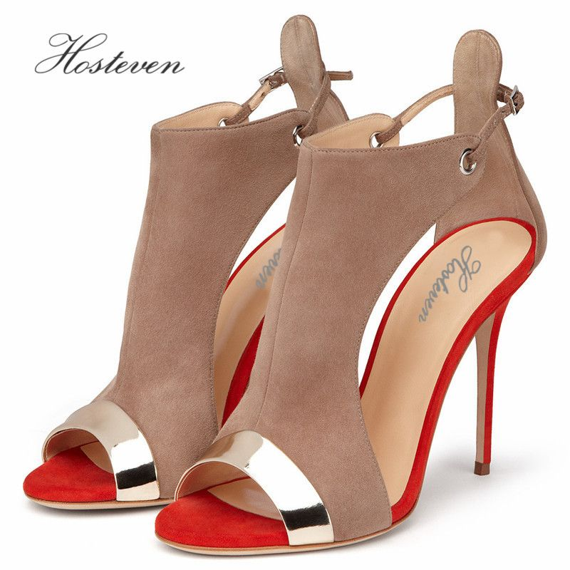 Hosteven Summer Women's Shoes Elegant Ladies Plush Patent Leather Office Pumps Casual Thick High Heel Sandals Shoes Size 34-46