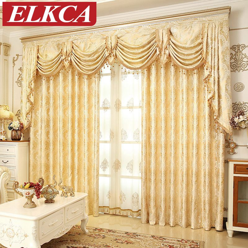 European Golden Royal Luxury Curtains for Bedroom Window Curtains for Living Room <font><b>Elegant</b></font> Drapes European Curtains