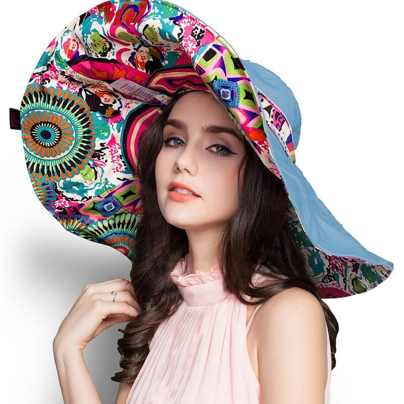 [SUOGRY] 2017 Mode Design Fleur Pliable Soleil À Larges Bords Chapeau D'été Chapeaux pour Femmes Protection UV Livraison Gratuite